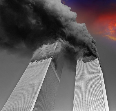 Twin Towers Burning PAID